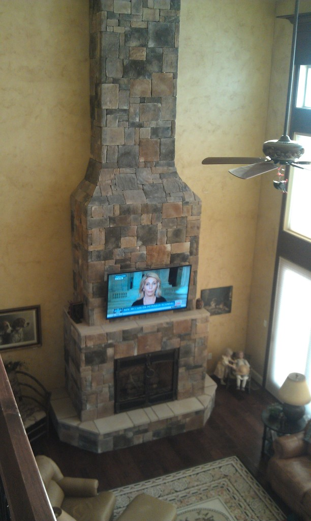 20′ Indoor Castle Stone Fireplace